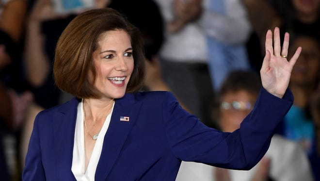 Catherine Cortez Masto arrives at a Clinton rally on Oct. 23, 2016, in North Las Vegas.