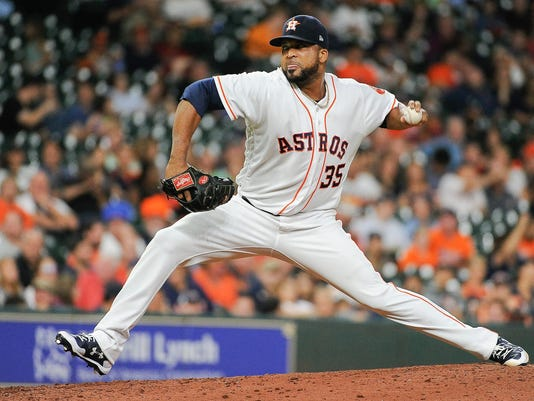 Houston Astros relief pitcher Francisco Liriano delivers a pitch during the seventh inning of the team's baseball game against the Tampa Bay Rays, Thursday, Aug. 3, 2017, in Houston. (AP Photo/Eric Christian Smith)
