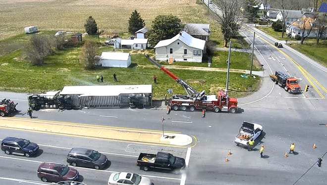 Summit Bridge Road now is closed near Boyd's Corner Road while an overturned tractor-trailer is cleared from the scene of a rollover accident.