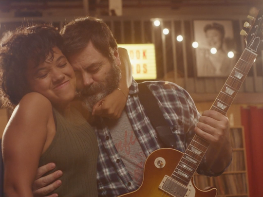 """Sam Fisher (Kiersey Clemons) gives her father (NIck Offerman) a hug in """"Hearts Beat Loud."""""""