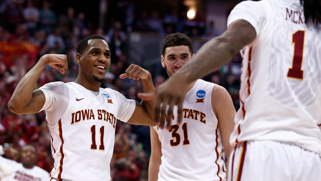 Iowa State Cyclones guard Monte Morris (11) celebrates with teammates in the send half of Iowa State vs Iona in the first round of the 2016 NCAA Tournament at Pepsi Center.
