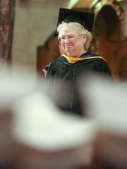 Head of School Cindy Mann at Padua Academy's commencement in May 2018.