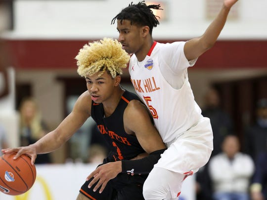 Wasatch Academy's Mike Saunders #3 in action against Oak Hill in a Boys Quarterfinal game at the Geico High School Basketball Nationals in the Queens borough of New York on Thursday, April 4, 2019. (AP Photo/Gregory Payan) ORG XMIT: NYOTK