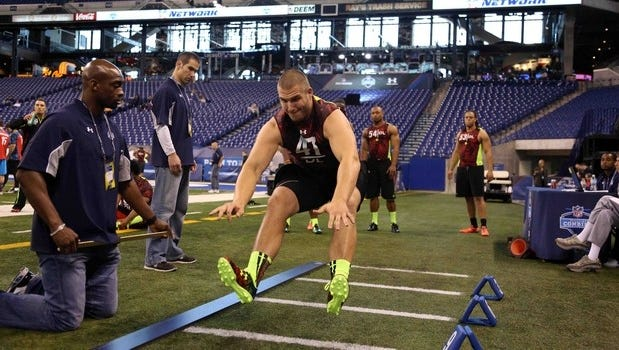 Bjoern Werner, who became a first-round draft choice by the Indianapolis Colts, is shown at the NFL Combine in 2013 at Lucas Oil Stadium in Indianapolis.
