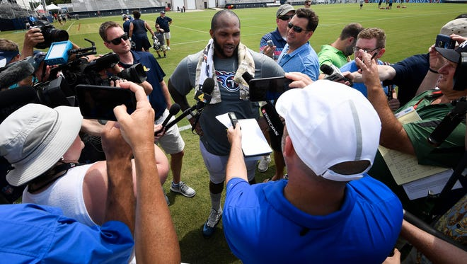 Titans defensive tackle Jurrell Casey talks with the media after practice Thursday at Saint Thomas Sports Park.