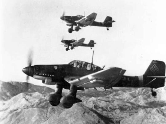 Junker Ju 87 Stuka dive bomber and ground attack aircraft were the primary German tactical aircraft in the battle of Kasserine Pass.
