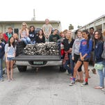 Cocoa Beach Jr/Sr High student and teacher volunteers who made oyster mats on Environmental Awareness Day.