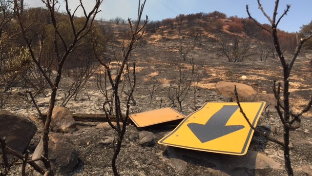 The Pilot Fire forced the evacuation of at least 175 homes while scorching roughly 4,500 acres, including this area off Highway 173. The National Weather Service issued a fire weather watch Sunday for large swaths of inland, Southern California, including the Coachella Valley.