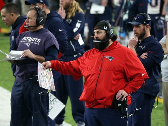 Matt Patricia, center, during the fourth quarter of