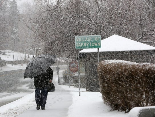 3:47 p.m.: Snow picks up during a winter storm in Tarrytown