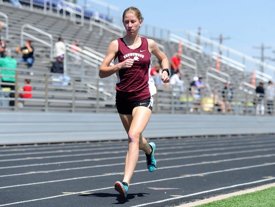 Brownwood's Kyra Young runs the 800 during the District