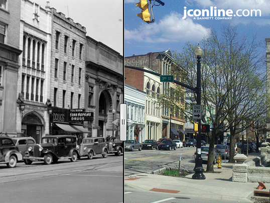 Then & Now: Main and Third streets, 1940.