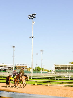 D. Wayne Lukas guided Mr. Z onto the track for Tuesday's training.
