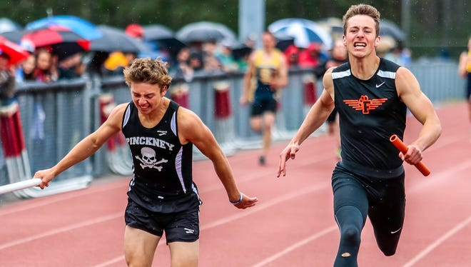 Pinckney's Alex Wasyl (left) anchored an all-state relay and a county-record relay last season.