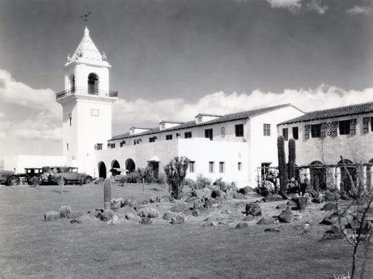 The Movie Colony neighborhood developed near the El Mirador Hotel, seen in the early 1930s.