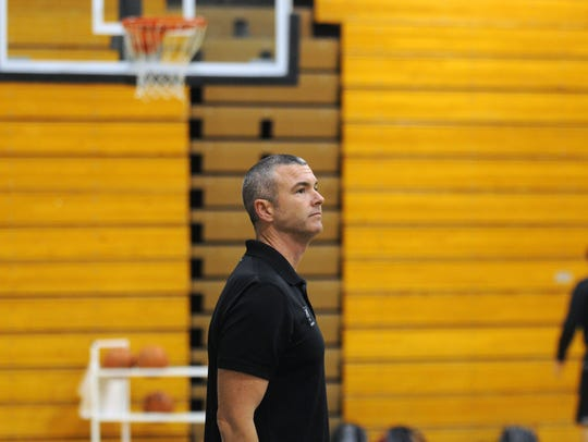 Brian McDermott watches practice as the head coach of Sussex Tech on Dec. 3, 2015.