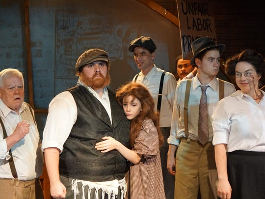 "Ron Seney, Kaleb Norman, Denna Langston, Andy Bryan, Mikil Hernandez, Adam Baker, Ellen Spann and Renee Elkady in a scene from ""Ragtime."""
