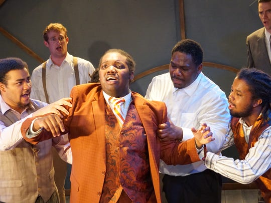 "Mikil Hernandez, Andrew Phinney, Deon Shotwell, Tony Wheeler, Lavelle Johnston, Andy Bryan in a scene from ""Ragtime."""