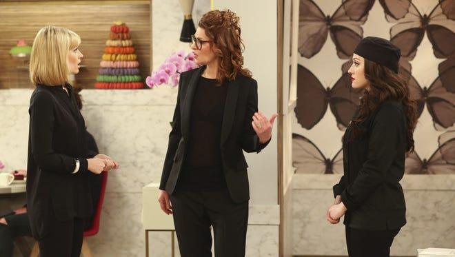 Sandra Bernhard, center, guest stars on '2 Broke Girls'  with Beth Behrs , left,  as Caroline Channing and Kat Dennings as Max Black.