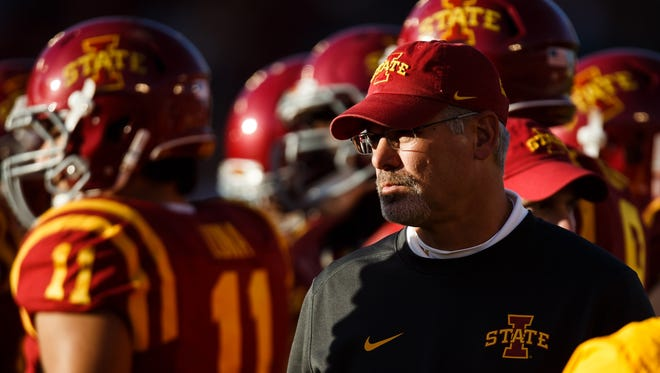 Iowa State head coach Paul Rhoads looks over his team as they take on Oklahoma State at Jack Trice Stadium on Saturday.