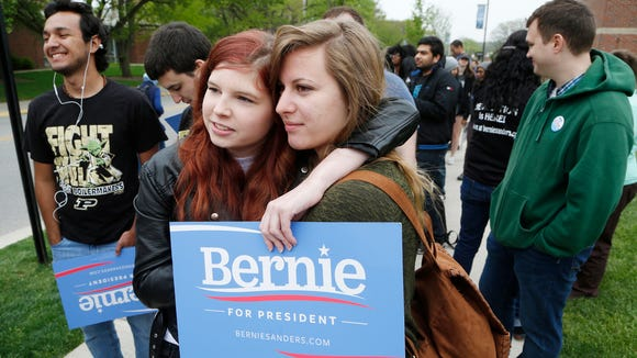 Faith Geiger (left) and Isabel Kuhnapfel waited in line to attend a town hall meeting of Democratic presidential candidate Bernie Sanders on April 27, 2016, at Purdue University. Sanders got 61.5 percent of the vote in Tippecanoe County, one of his top performances in Tuesday's primary.