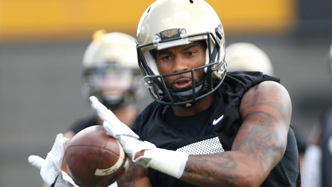 DeAngelo Yancey catches a pass during football practice Thursday, August 4, 2016, at the Bimel Practice Complex on the campus of Purdue University.
