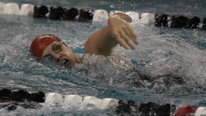 Canton senior swimmer Meghan Mans competes during the Kensington Conference meet.