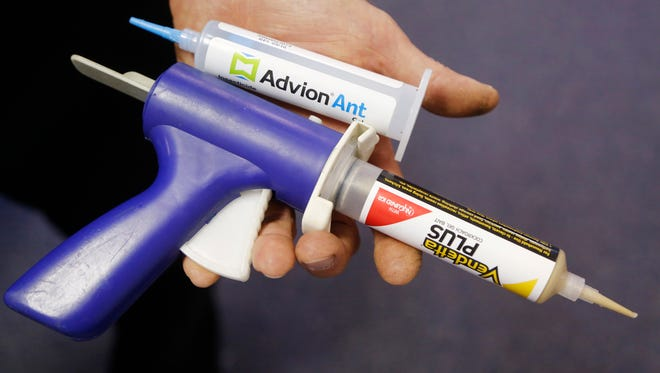 Bob Hanstra displays Advion Ant and Vendetta Plus Thursday, June 29, 2017, at Reliable Exterminators, 1813 Main Street in Lafayette. Advion Ant, made by Syngenta, is a slow acting bait used for ants. Vendetta Plus by MGK, is a treatment for cockroaches.