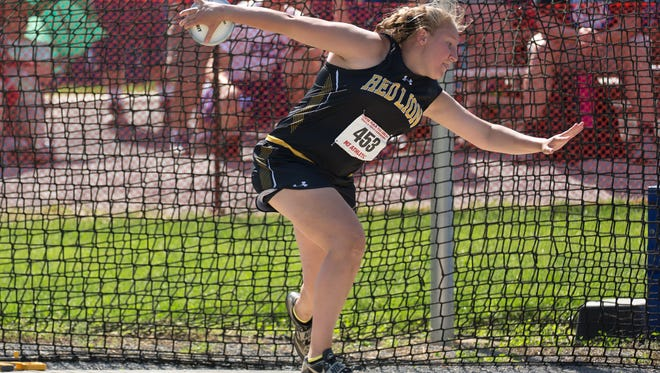 Red Lion's Maddow Kling warms up for the AAA Girls Discus during the 2018 PIAA Track and Field State Championships, Saturday, May 26, 2018 at Shippensburg University.