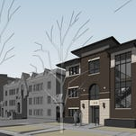 This rendering shows the planned Uncommon apartment complex planned for the former Perkins site on the southeast corner of College Avenue and Olive Street.