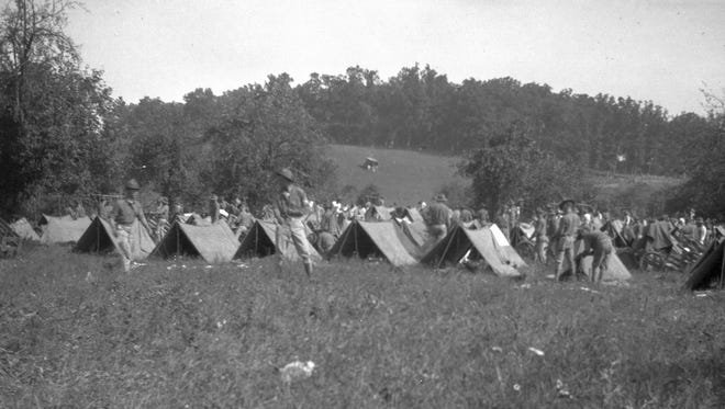 An encampment of some sort from photos in historical archives — could this be workers who helped build the Skyline Drive in the Shenandoah National Park?