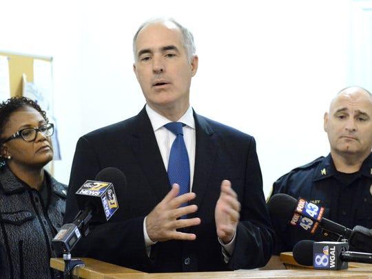 U.S. Senator Bob Casey speaks at the York City Police