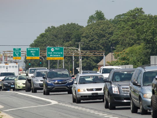 Traffic along Route 1 in Rehoboth Beach.