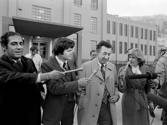 Chief counsel Richard Sprague, center, had very little to say after he and four other members of the House Assassinations Committee spent a two-hour session with James Earl Ray inside the walls of Brushy Mountain State Prison in Petros, Tenn., on March 22, 1977. Ray was serving a 99-year sentence for the Rev. Martin Luther King Jr.'s death.
