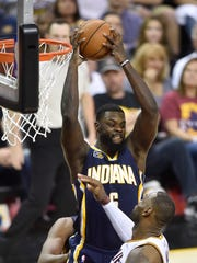 Apr 15, 2017; Cleveland, OH, USA; Indiana Pacers guard Lance Stephenson (6) grabs a rebound in the fourth quarter against the Cleveland Cavaliers in game one of the first round of the 2017 NBA Playoffs at Quicken Loans Arena. Mandatory Credit: David Richard-USA TODAY Sports