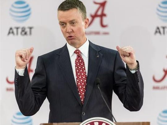 Alabama athletic director Greg Byrne took over for Bill Battle in March.