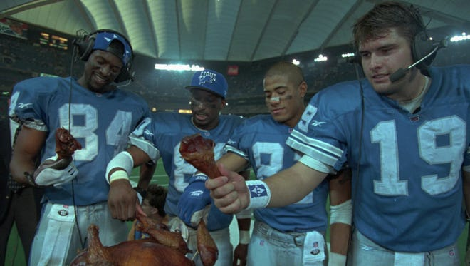 The Lions offense — from left, Herman Moore, Brett Perriman, Johnnie Morton and Scott Mitchell — worked up an appetite in a 1995 victory over the Vikings.