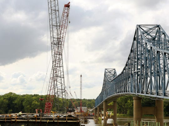 Several of the piers for the new bridge project are