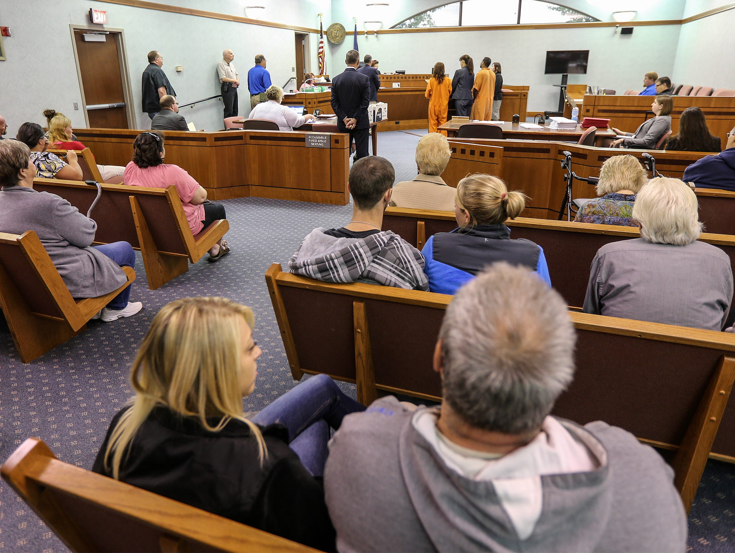 A crowded courtroom at Carroll County Circuit Court