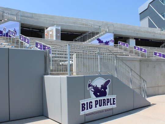 The southwest corner of the home side of Wildcat Stadium will be where the Big Purple Marching Band will be seated. The band numbers 155 this fall, continuing to grow.