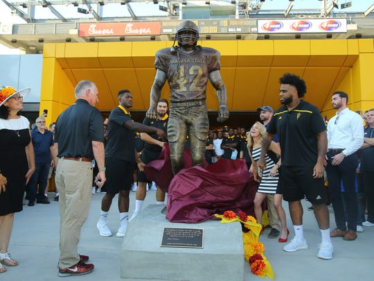 ASU unveils a statue of Pat Tillman at Sun Devil Stadium Wednesday, Aug. 30, 2017, in  Tempe.