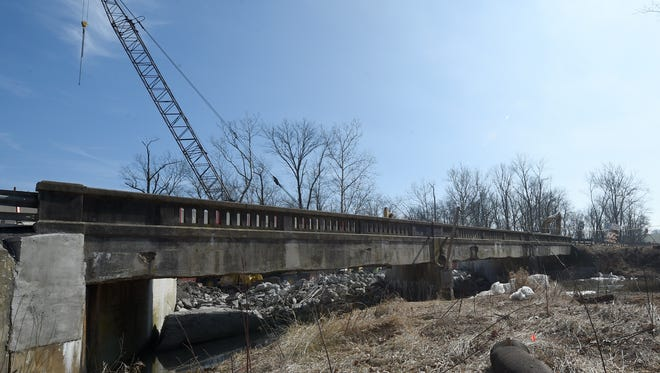 """Construction occurs on the Rt. 194 bridge over Bermudian Creek in Washington Township, York County. A January PennDOT report showed the bridge qualified as """"structurally deficient."""" Work is scheduled to be completed in April 2018 and will cost $2.25 million."""