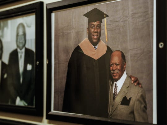 """This photo of Gregory Eaton and Earvin """"Magic"""" Johnson"""