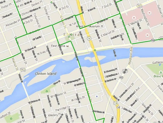 The green lines indicate the location of Southern Tier