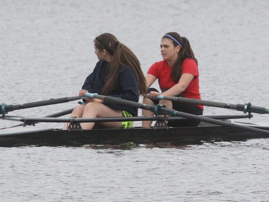 Rachel Kaplan of West Nyack, left, and Bella Goldberg of Congers practice with the Rockland Rowing Association in Rockland Lake.