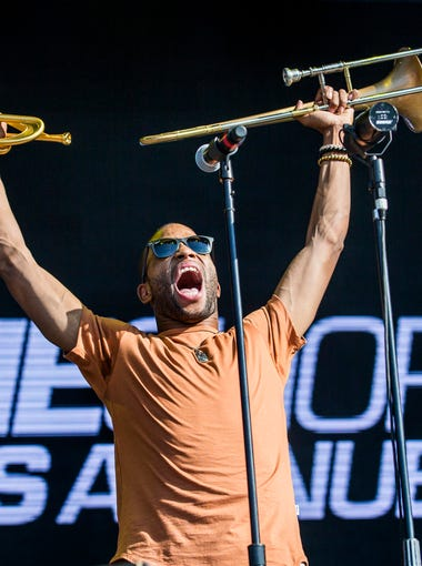 Trombone Shorty & Orleans Avenue perform on the Backyard Stage at the Firefly Music Festival in Dover on Sunday evening.