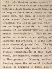 In responding to three lynchings in 24 hours in 1919, the Advertiser claimed -- without evidence -- the victims had assaulted white women. The murdered men included Miles (or Relius) Phifer, who was shot to death while wearing a U.S. Army uniform.