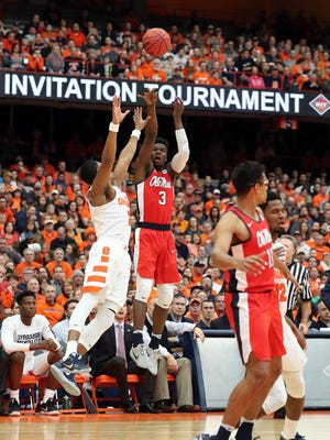 Terence Davis scored 30 points and knocked down six 3s against Syracuse Saturday.