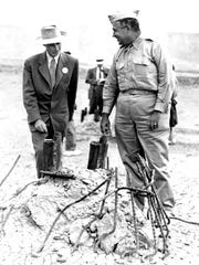 This Sept. 9, 1945, file photo Gen. Leslie R. Groves,