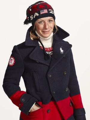 American skier Hannah Kearney models the Ralph Lauren-designed outfits the United States will wear at Closing Ceremonies for the Sochi Olympics.
